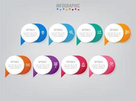 Modèle d'étiquettes infographie métier avec 8 options vecteur