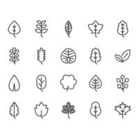 Jeu d'icônes de feuilles