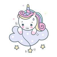 Licorne mignonne attraper le temps de sommeil magique de dessin animé de poney étoile vecteur