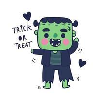 Dessin animé mignon monstre frankenstein, personnage d'halloween vecteur
