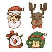 Visage de Noël du père Noël, renne, bonhomme de neige et gnome vecteur