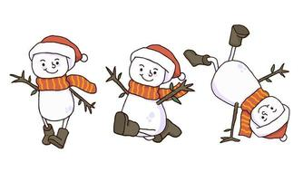 Dessins à la main de bonhomme de neige sans soucis de Noël vecteur