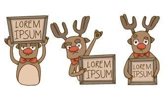 Rennes de Noël tenant des signes de texte en bois