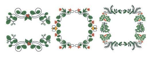 Conception de cadre d'élément botanique cool de Noël vecteur