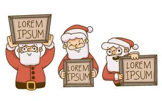 Père Noël tenant des pancartes en bois