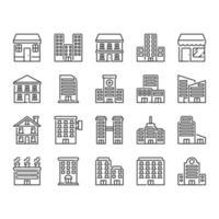 Jeu d'icônes de bâtiment vecteur