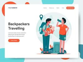 Modèle de page d'atterrissage de Travelling Backpackers
