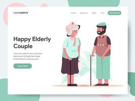 Modèle de page de destination du couple de personnes âgées heureux vecteur