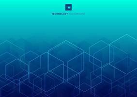 Hexagones de lueur blanche abstraite qui se chevauchent modèle sur le concept de technologie de fond bleu.