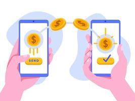 Transfert d'argent en ligne avec téléphone portable vecteur