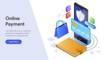 Landing page de paiement en ligne avec téléphone portable vecteur