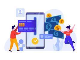 Paiement en ligne avec téléphone portable et carte de crédit vecteur