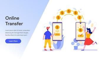 Modèle de page d'atterrissage de transfert d'argent en ligne vecteur