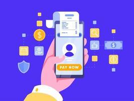 Paiement en ligne avec carte de crédit vecteur