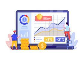 Investissement en ligne avec un concept d'ordinateur portable. vecteur