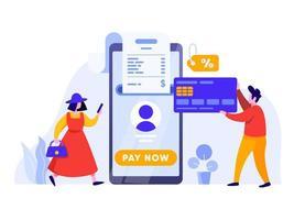 Paiement en ligne avec téléphone portable et carte de crédit