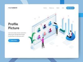 Modèle de page d'atterrissage de photo de profil ou d'avatar