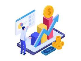 Investissement en ligne avec le concept de téléphone mobile.