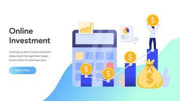 Page de destination du concept d'investissement en ligne vecteur