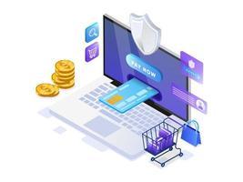 Paiement mobile ou transfert d'argent avec le concept d'ordinateur portable. vecteur