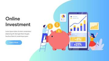 Page de destination des investissements en ligne vecteur