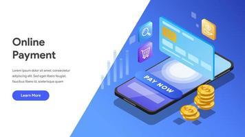 Modèle de page de destination du paiement en ligne vecteur