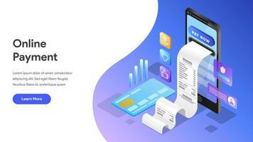 Modèle de page de destination du paiement en ligne avec un téléphone mobile vecteur