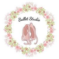 Chaussure pointe rose avec cadre floral vecteur