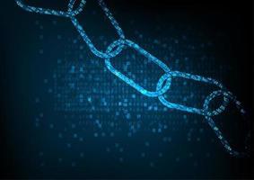 Concept de chaîne de blocs avec chaîne de code numérique cryptée. vecteur
