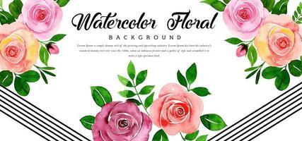 Beau fond floral rose aquarelle vecteur