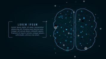 Cerveau à intelligence artificielle avec lignes de connexion et sphères
