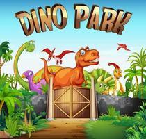Parc plein de dinosaures vecteur