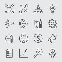 Icône de ligne de plan d'affaires vecteur
