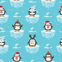 Modèle sans couture de Noël avec pingouin vecteur