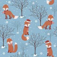 Modèle sans couture de Noël hiver bleu avec renard