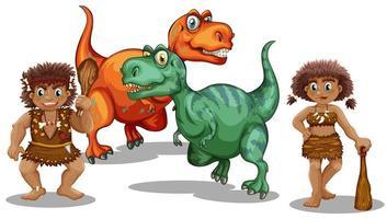Dinosaures et gens des cavernes vecteur