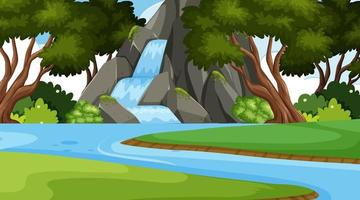 Un paysage de nature cascade simple vecteur