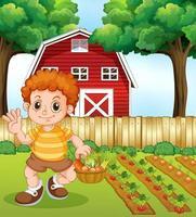 Un garçon récolte des légumes vecteur