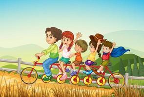 Enfants heureux à vélo à la ferme vecteur