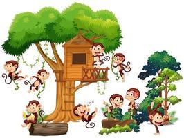 Singes jouant et grimpant dans la cabane dans les arbres vecteur