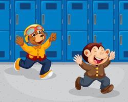 Singe et ours courant à l'école vecteur