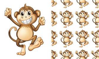 Caricature de modèle de singe sans couture et isolé vecteur