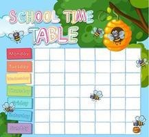 Modèle de calendrier scolaire avec les abeilles vecteur