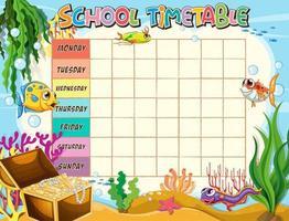 Modèle de calendrier scolaire avec le thème de l'océan vecteur