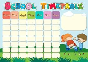 Modèle de calendrier scolaire avec thème en plein air vecteur
