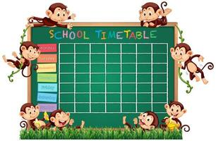 Modèle de calendrier scolaire avec le thème du singe vecteur