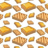 Caricature de modèle sans couture avec de la nourriture pour le pain et le beurre vecteur