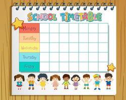 Agenda horaire scolaire dans un cahier vecteur
