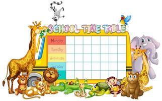 Modèle de calendrier scolaire avec bus et animaux vecteur
