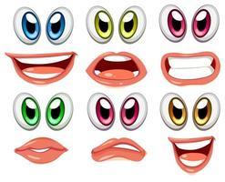 Bouches aux yeux de couleurs différentes vecteur